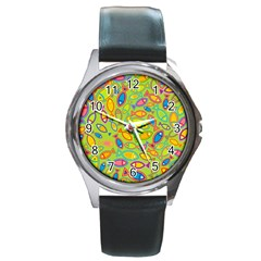 Animals Fish Green Pink Blue Green Yellow Water River Sea Round Metal Watch