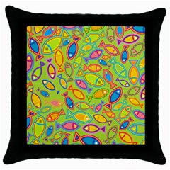 Animals Fish Green Pink Blue Green Yellow Water River Sea Throw Pillow Case (black)