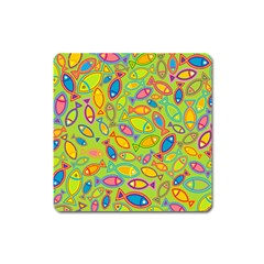 Animals Fish Green Pink Blue Green Yellow Water River Sea Square Magnet by Alisyart