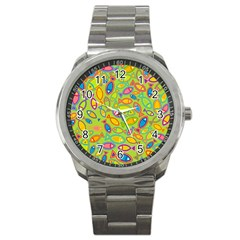 Animals Fish Green Pink Blue Green Yellow Water River Sea Sport Metal Watch