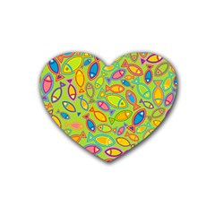Animals Fish Green Pink Blue Green Yellow Water River Sea Rubber Coaster (heart)