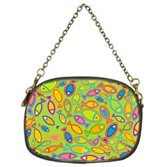 Animals Fish Green Pink Blue Green Yellow Water River Sea Chain Purses (two Sides)
