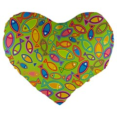 Animals Fish Green Pink Blue Green Yellow Water River Sea Large 19  Premium Flano Heart Shape Cushions