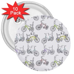 Bicycle Bike Sport 3  Buttons (10 Pack)