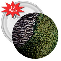 Bird Feathers Green Brown 3  Buttons (10 Pack)