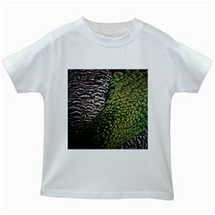 Bird Feathers Green Brown Kids White T Shirts