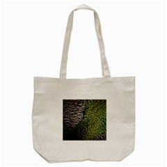 Bird Feathers Green Brown Tote Bag (cream)