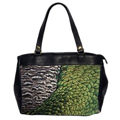 Bird Feathers Green Brown Office Handbags (2 Sides)