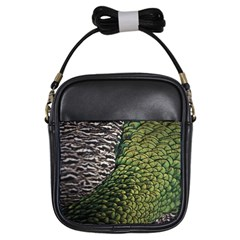 Bird Feathers Green Brown Girls Sling Bags