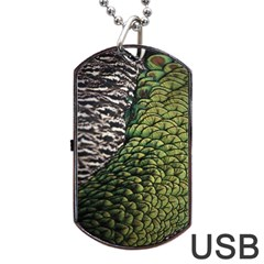 Bird Feathers Green Brown Dog Tag Usb Flash (one Side)