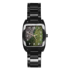 Bird Feathers Green Brown Stainless Steel Barrel Watch