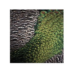 Bird Feathers Green Brown Small Satin Scarf (square)