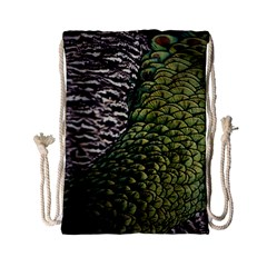 Bird Feathers Green Brown Drawstring Bag (small)