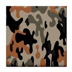 Camouflage Army Disguise Grey Orange Black Tile Coasters by Alisyart