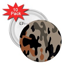 Camouflage Army Disguise Grey Orange Black 2 25  Buttons (10 Pack)