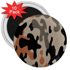 Camouflage Army Disguise Grey Orange Black 3  Magnets (10 Pack)
