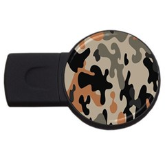 Camouflage Army Disguise Grey Orange Black Usb Flash Drive Round (4 Gb)