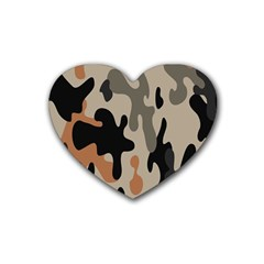 Camouflage Army Disguise Grey Orange Black Rubber Coaster (heart)