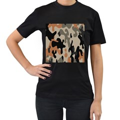 Camouflage Army Disguise Grey Orange Black Women s T Shirt (black) by Alisyart