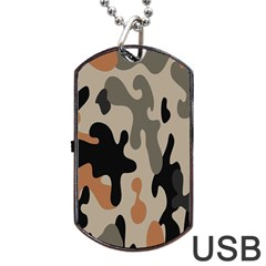 Camouflage Army Disguise Grey Orange Black Dog Tag Usb Flash (one Side)