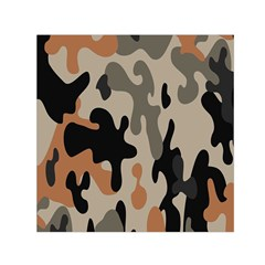Camouflage Army Disguise Grey Orange Black Small Satin Scarf (square)