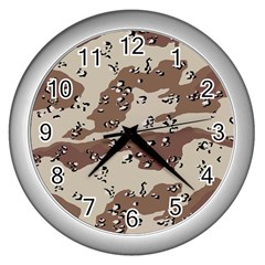 Camouflage Army Disguise Grey Brown Wall Clocks (silver)