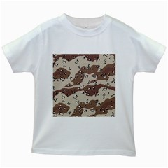 Camouflage Army Disguise Grey Brown Kids White T Shirts