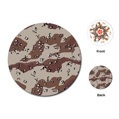 Camouflage Army Disguise Grey Brown Playing Cards (round)