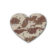 Camouflage Army Disguise Grey Brown Rubber Coaster (heart)