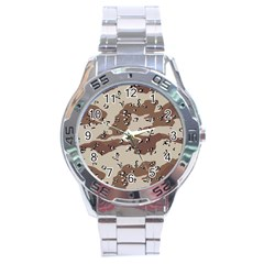Camouflage Army Disguise Grey Brown Stainless Steel Analogue Watch by Alisyart
