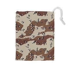 Camouflage Army Disguise Grey Brown Drawstring Pouches (large)