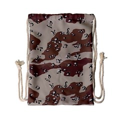 Camouflage Army Disguise Grey Brown Drawstring Bag (small)