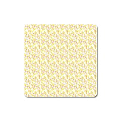 Branch Spring Texture Leaf Fruit Yellow Square Magnet by Alisyart