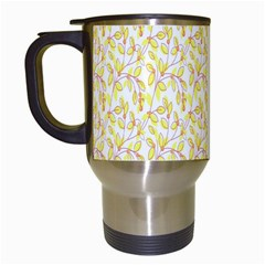 Branch Spring Texture Leaf Fruit Yellow Travel Mugs (white) by Alisyart