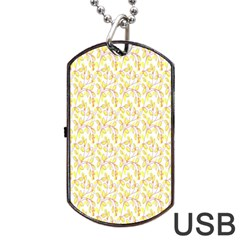 Branch Spring Texture Leaf Fruit Yellow Dog Tag Usb Flash (one Side)