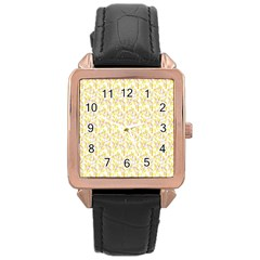 Branch Spring Texture Leaf Fruit Yellow Rose Gold Leather Watch