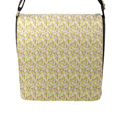 Branch Spring Texture Leaf Fruit Yellow Flap Messenger Bag (l)