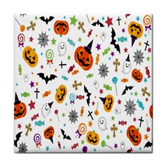 Candy Pumpkins Bat Helloween Star Hat Tile Coasters by Alisyart