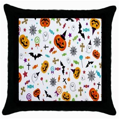 Candy Pumpkins Bat Helloween Star Hat Throw Pillow Case (black)