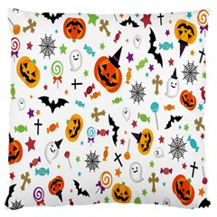 Candy Pumpkins Bat Helloween Star Hat Large Flano Cushion Case (two Sides) by Alisyart