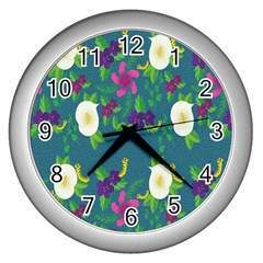 Caterpillar Flower Floral Leaf Rose White Purple Green Yellow Animals Wall Clocks (silver)