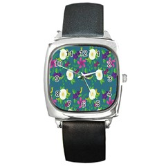 Caterpillar Flower Floral Leaf Rose White Purple Green Yellow Animals Square Metal Watch by Alisyart