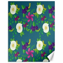 Caterpillar Flower Floral Leaf Rose White Purple Green Yellow Animals Canvas 12  X 16