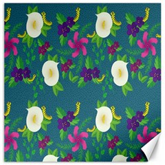 Caterpillar Flower Floral Leaf Rose White Purple Green Yellow Animals Canvas 16  X 16