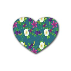 Caterpillar Flower Floral Leaf Rose White Purple Green Yellow Animals Rubber Coaster (heart)