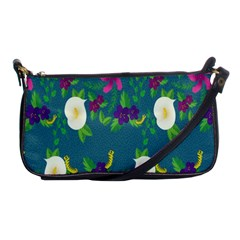 Caterpillar Flower Floral Leaf Rose White Purple Green Yellow Animals Shoulder Clutch Bags