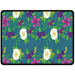Caterpillar Flower Floral Leaf Rose White Purple Green Yellow Animals Fleece Blanket (large)