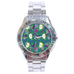 Caterpillar Flower Floral Leaf Rose White Purple Green Yellow Animals Stainless Steel Analogue Watch