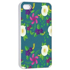 Caterpillar Flower Floral Leaf Rose White Purple Green Yellow Animals Apple Iphone 4/4s Seamless Case (white) by Alisyart