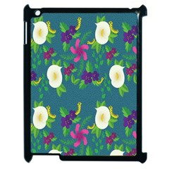 Caterpillar Flower Floral Leaf Rose White Purple Green Yellow Animals Apple Ipad 2 Case (black)